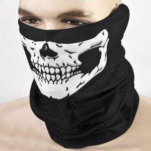 Other - Black & White Skull Biker Ski Mask Neck Warmer O/S
